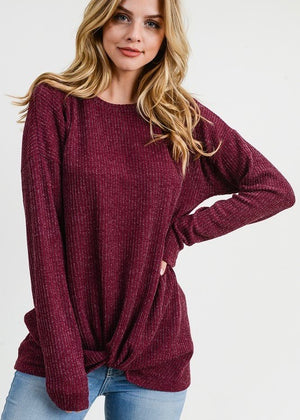 Ribbed Twist Top - Cranberry