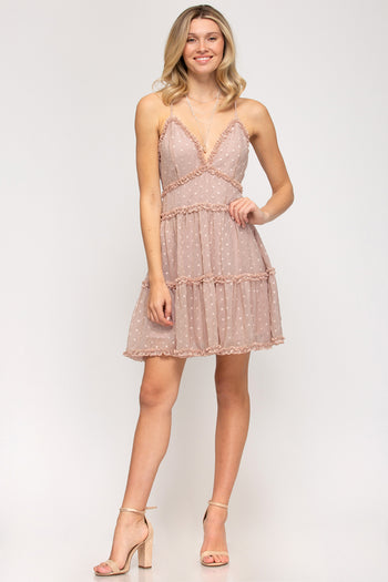 Rose Dotted Ruffle Criss Cross Back Dress