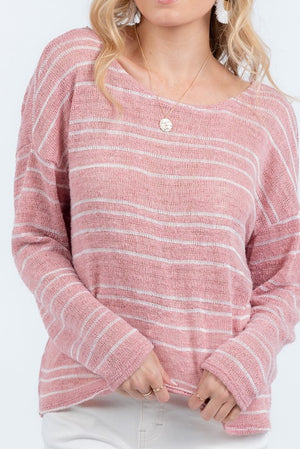 Rose Striped Twist Back Top