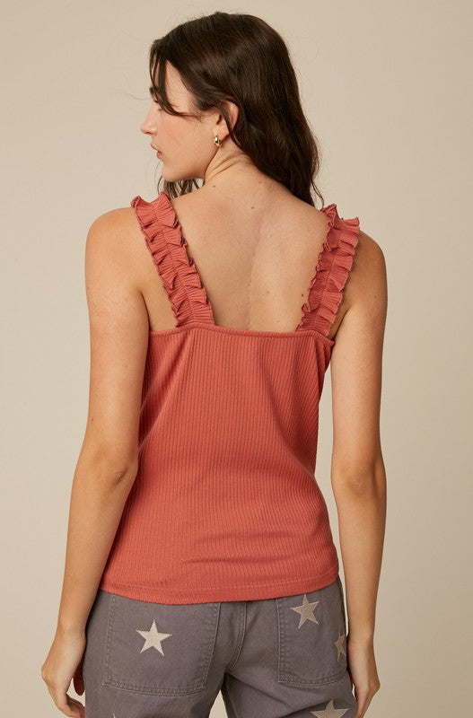 Ruffle Strap Ribbed Fitted Tanks - 3 Colors!