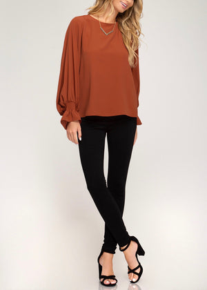 Thankful for Pie Rust Smocked Sleeve Top