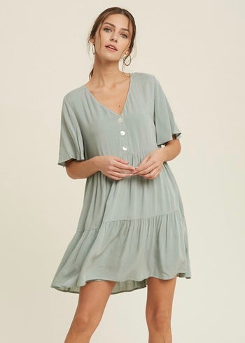 Sage Button Sundress