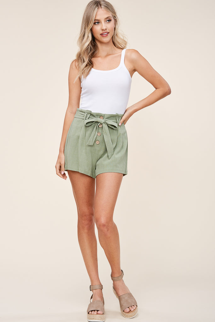 Sage Button Shorts