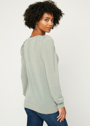 Sage Puffy Sleeve Top