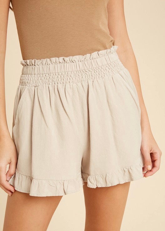 Linen Ruffle Smocked Shorts