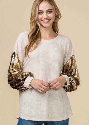 Gold Sequin Sleeve Top