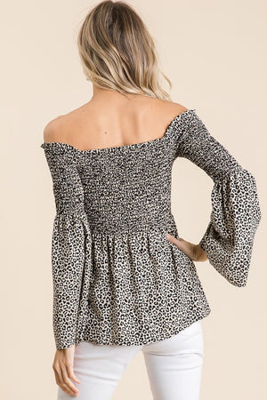 Smocked Off The Shoulder Animal Print Top