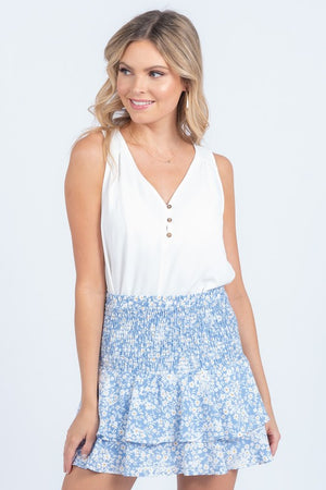 Sky Blue Floral Smocked Skirt