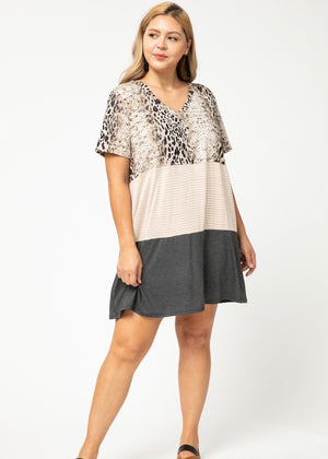 Keep It Wild Animal Color Block Dress