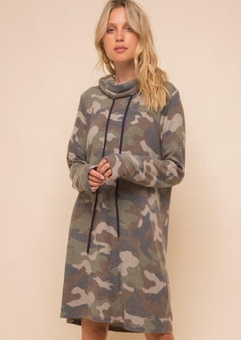 Soft Camo Cowl Dress