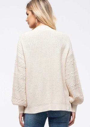 Dotted Sleeve Spring Cardigan - Natural