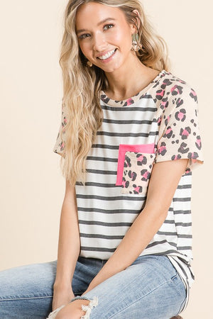 Striped Double Pocket Tee