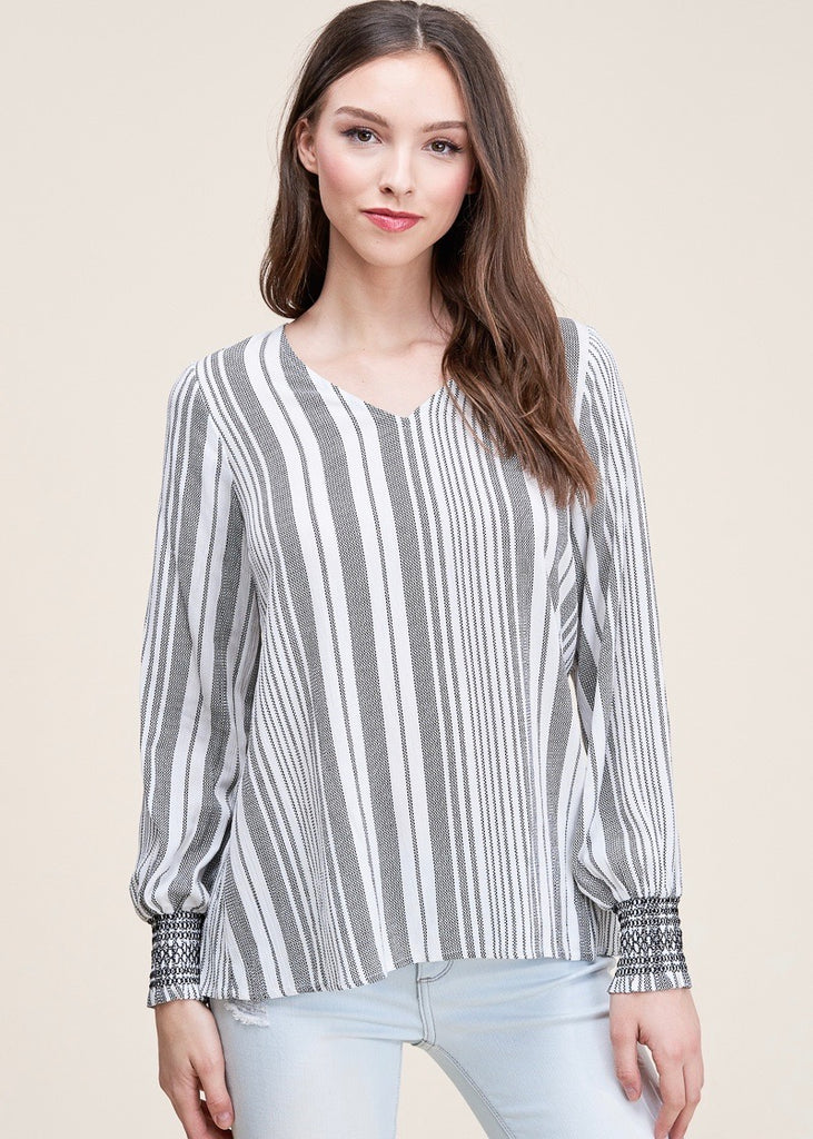 Striped Keyhole Back Top - Black and Ivory