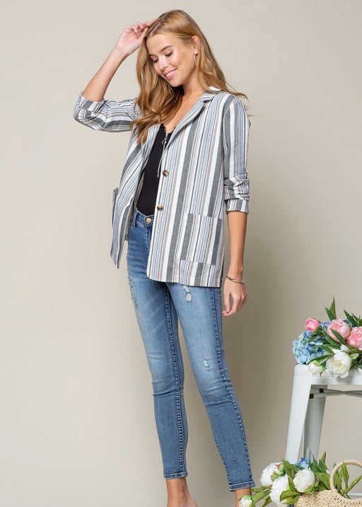 Striped Linen Lightweight Jacket