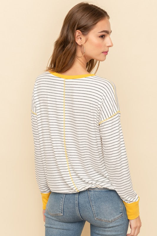 Black & Yellow Striped Tie Pullover