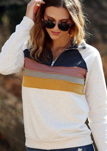 Colorful Striped Zip Pullover