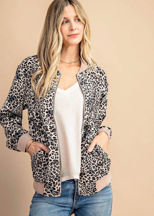 Lightweight Taupe Animal Zip Up Jacket
