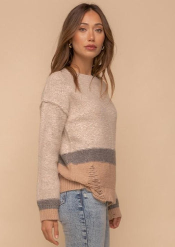 Taupe & Charcoal Destructed Sweater