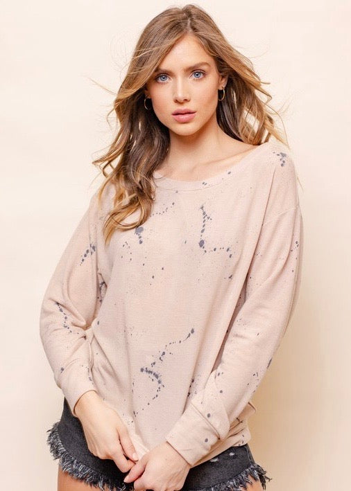 Taupe & Gray Splatter Sweatshirt