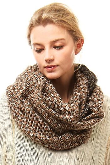 $9 Deal! Taupe Houndstooth Infinity Scarf
