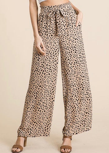 Taupe Printed Paper Bag Pants