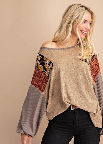Taupe Mix Print Sleeve Top