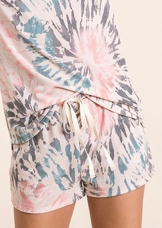 Cream Tie Dye Shorts
