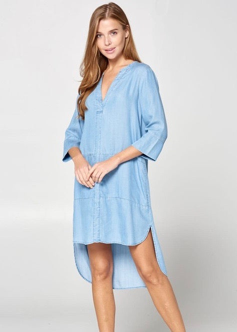 Tencel Denim Hi Low Dress