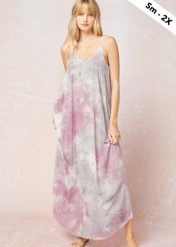Tie Dye Swiss Dot Maxi Dresses - 2 Colors!