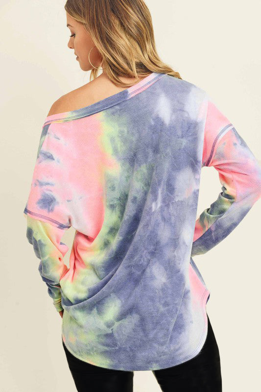 On or Off The Shoulder Tie Dye Long Sleeve