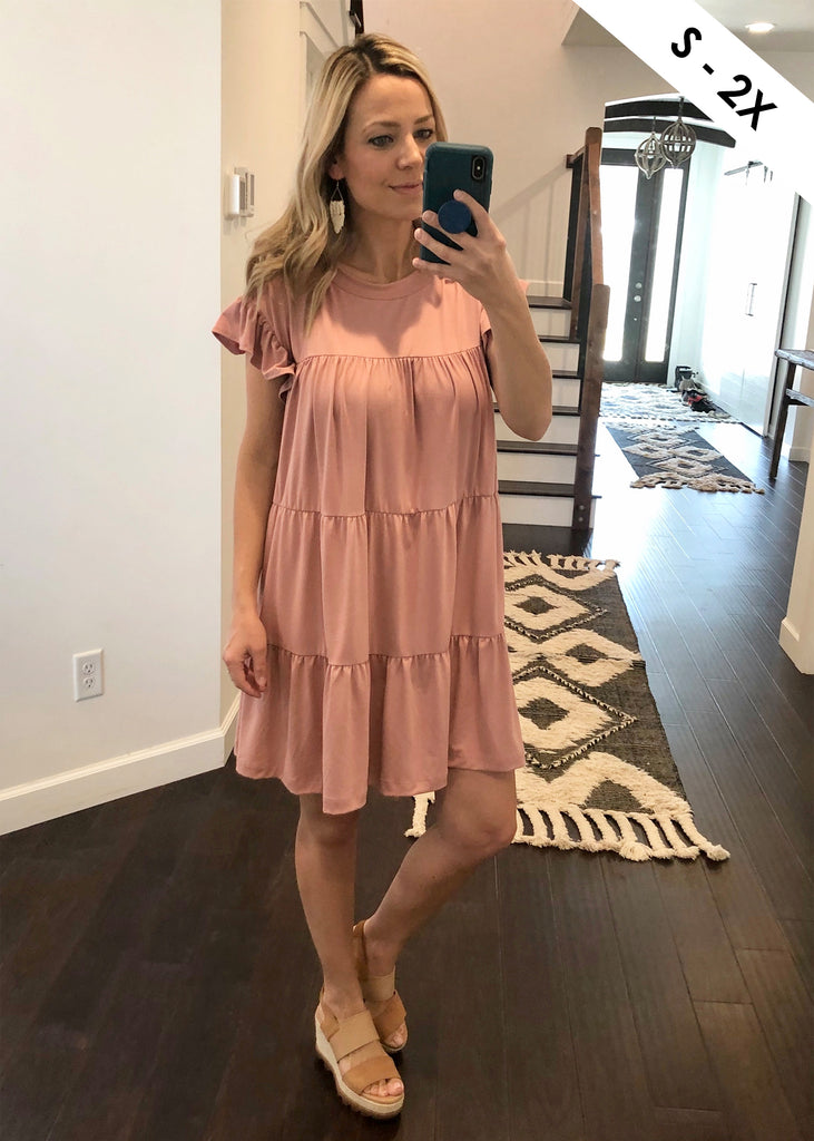 Soft Ruffle Sleeve Tiered Dress