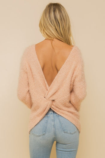 Blush Twist Back Fuzzy Sweater