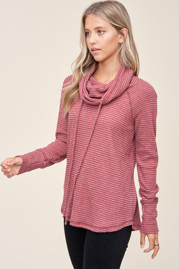 Checked Charcoal Waffle Cowl Tops - 2 Colors!