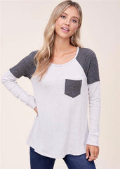 Gray Waffle Detail Pocket Top