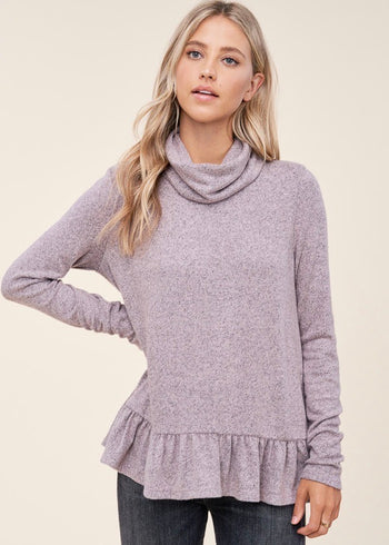 Soft Dusty Heathered Mauve Ruffle Turtleneck