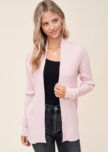 Blush Ribbed Cardigan