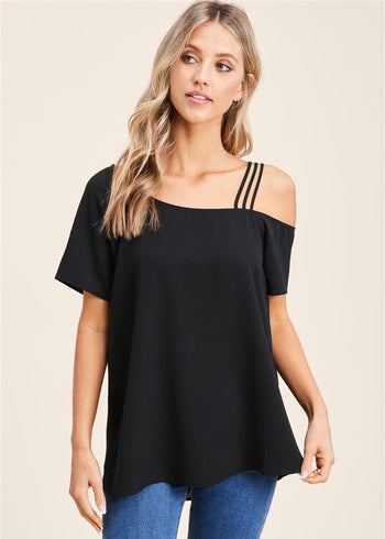 Out on the Town Strappy Cold Shoulder Tops - 2 Colors!