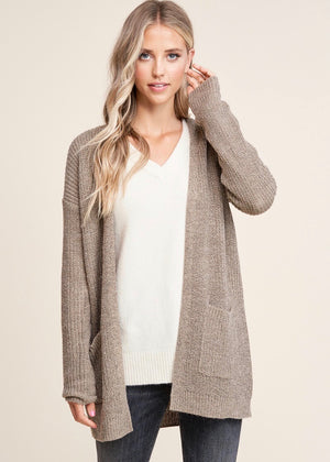 Essential Knit Pocket Cardigan - Mocha