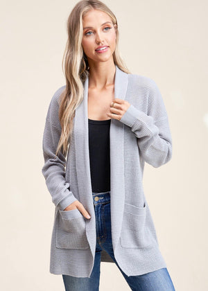 Out to Breakfast Waffle Cardigan - Gray