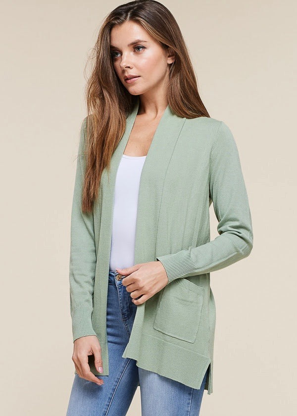 Just Like Cashmere Pocket Cardigan - Sage Green