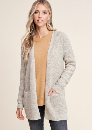 Essential Knit Pocket Cardigan - Oatmeal