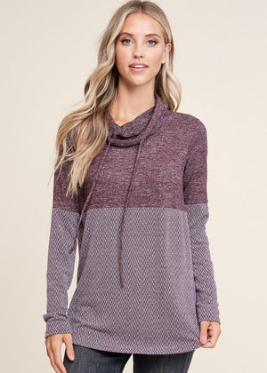 Burgundy Heather Cowl Top