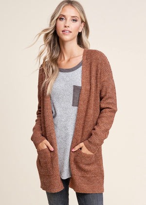 Essential Knit Pocket Cardigan - Copper