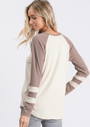 Varsity Criss Cross Top - Vintage Mocha