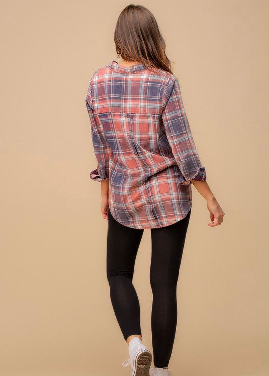 Plaid Button Back Tunic Top