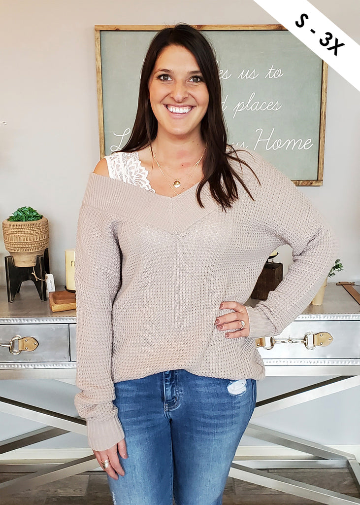Waffle Ribbed V-Neck Top - Taupe Gray
