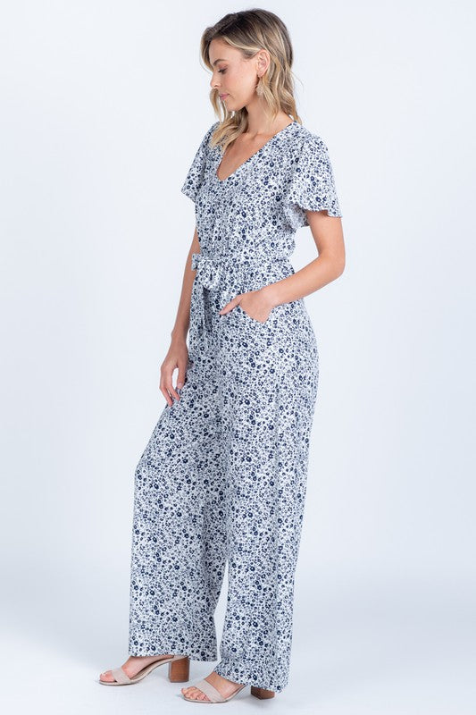 White & Navy Floral Jumpsuit