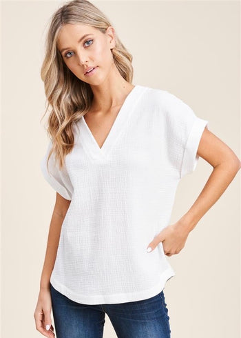 Beachy Gauze V-Neck Tops - 2 Colors!