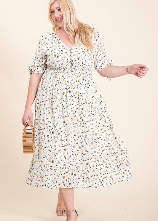 Wood Button Floral Dress - Ivory