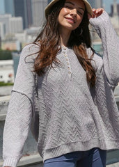 Blue Gray Oversized Button Pullover